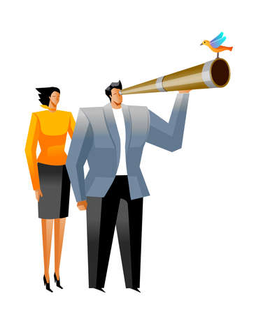 looking through an object: Businessman looking through telescope, and Businesswoman standing beside