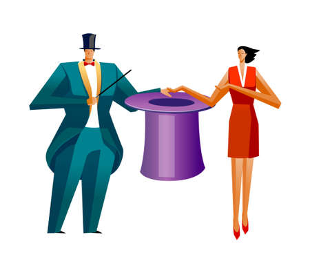Businessman and Businesswoman showing magic Vector