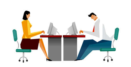 Businessman and Businesswoman using computer Vector