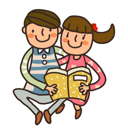 Boy And Girl reading book Vector