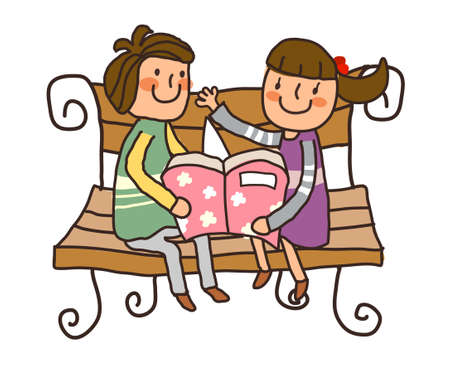 Boy And Girl reading book on bench Vector