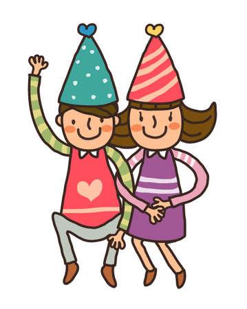Boy And Girl wearing birthday cap Vector
