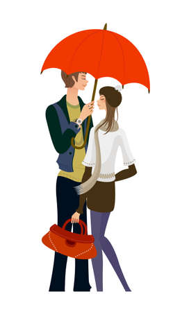Couple standing under one umbrella Stock Vector - 15823216