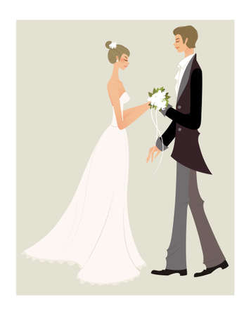 Bride and bridegroom Vector