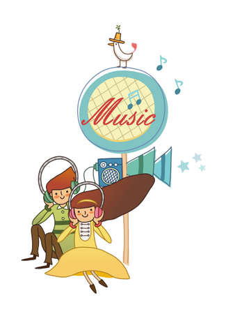 Boy and Girl using headphone Vector
