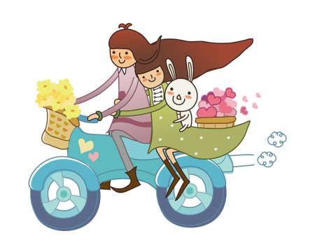 mode of transport: Muchacho y muchacha en motocicleta Vectores