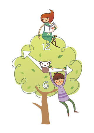 Girl sitting on tree and boy hanging on clock hand Vector
