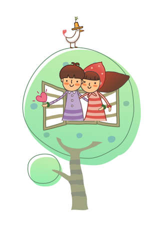 Boy and Girl through window Vector