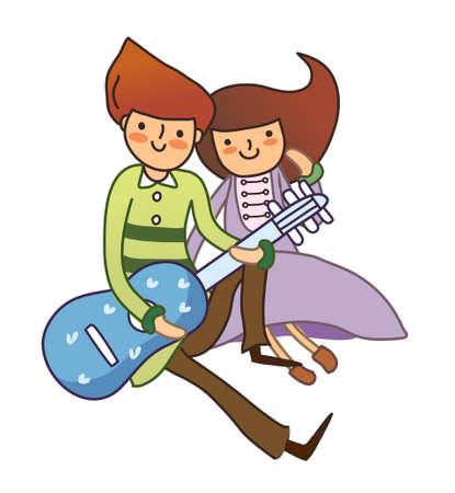 girl bonding: Boy and Girl plying guitar