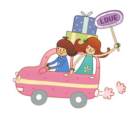 Boy and Girl travelling in car Vector