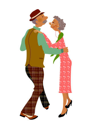 Senior adult dancing together Vector