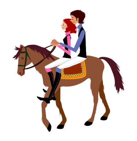 Young couple riding on Horse Vector