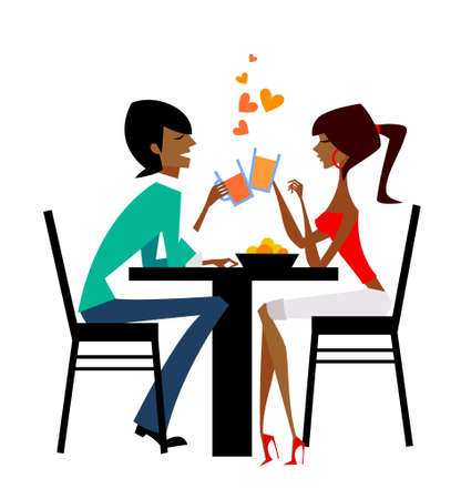 adult dating: couple raising glasses at dinner table