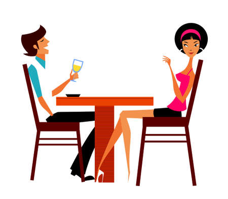 Couple sitting in cafe Stock Vector - 15822283