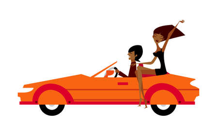 Couple in car Vector