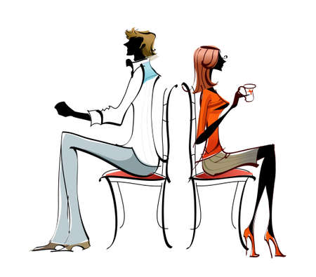 portrait of couple sitting back to back Vector