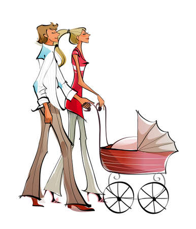 Side profile of a couple pushing a baby carriage Vector