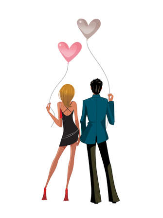 profile: Back view of Couple standing together holding balloons
