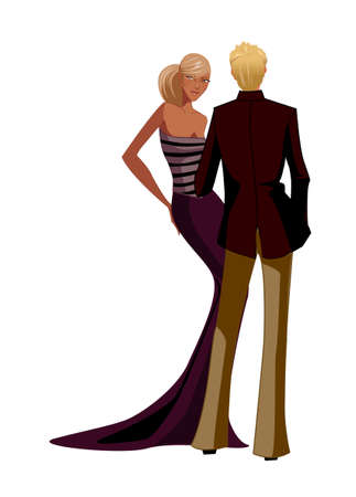 Back view of couple in partywear Vector