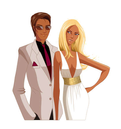 Portrait of Elegant couple  Vector