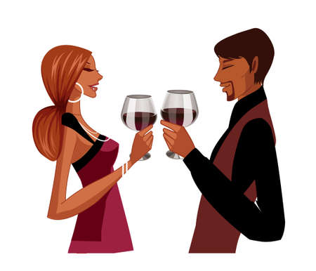Elegant couple toasting Vector