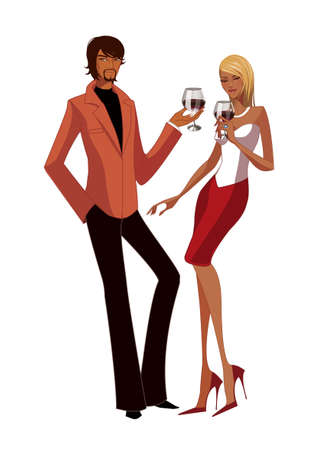 Elegant couple holding wineglass Vector