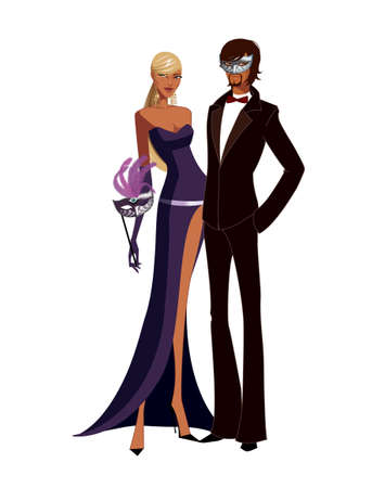 couple wearing masquerade mask and holding wineglass Vector