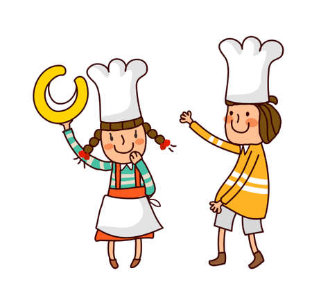 Portrait of Boy and Girl wearing chefs hat Vector