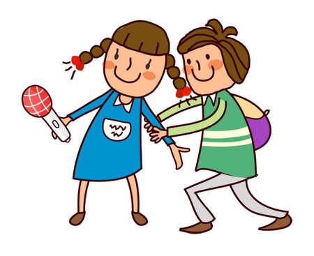Boy holding hand of girl  Stock Vector - 15822889