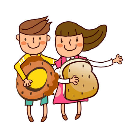 Portrait of Boy and Girl holding bun and bread Vector