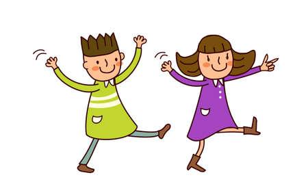 Portrait of Boy and Girl dancing Stock Vector - 15822370