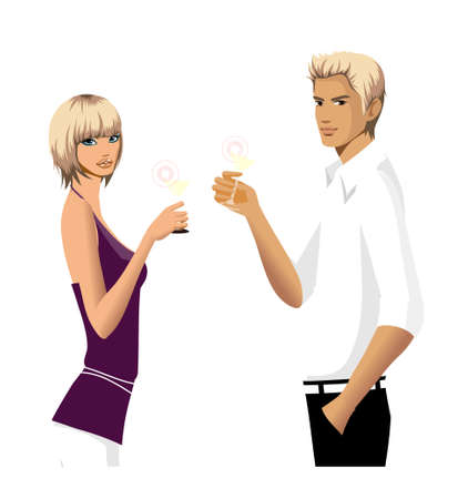 Elegant couple holding lime juice Stock Vector - 15821937