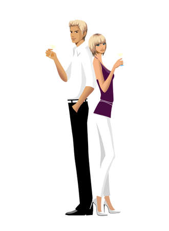 Elegant couple holding lime juice Vector