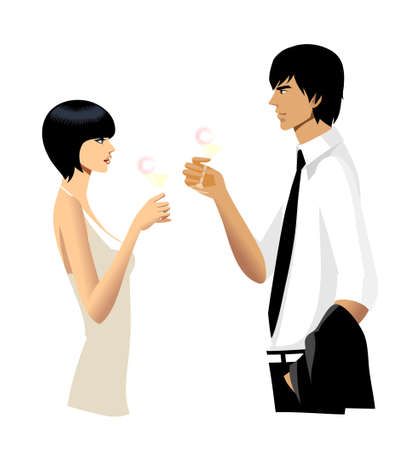 creative arts: Elegant couple holding lime juice