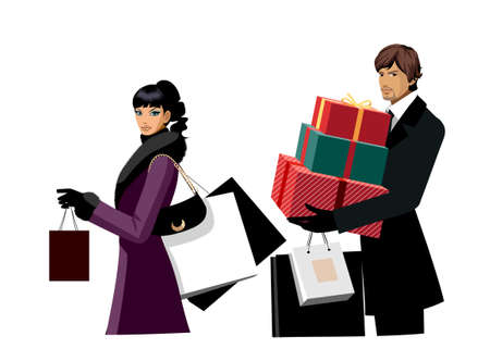 Couple with shopping bags and gifts Vector