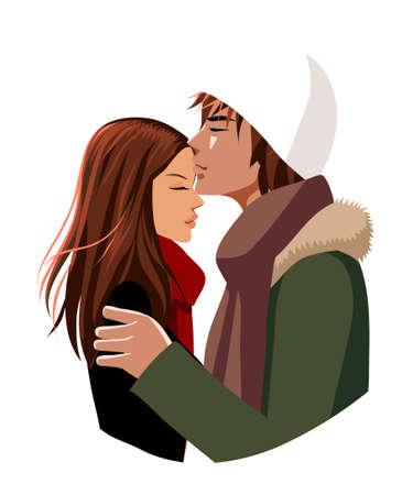 innamorati che si baciano: Ritratto di uomo baciare sulla testa della donna Vettoriali