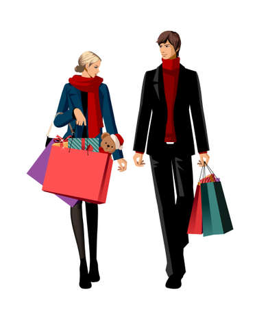 elegant couple: Couple with shopping bags and gifts