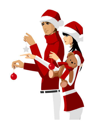 Portrait of couple wearing santa hat and holding teddy bear and christmas ornaments Vector