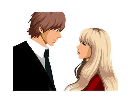 Portrait of couple looking at eachother Stock Vector - 15823030