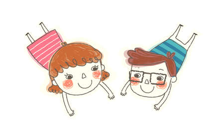 Boy and Girl plying lying Vector