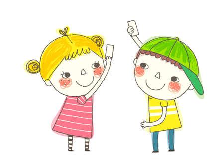 hand holding card: Jongen en Meisje speelt met kaarten