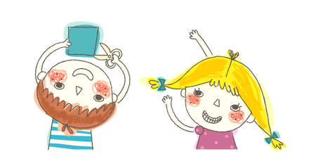 only baby girls: Boy and Girl playing  Illustration