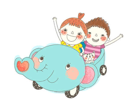 Boy and Girl sitting in vehicle Vector