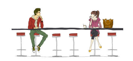 Couple sitting at bar counter Vector
