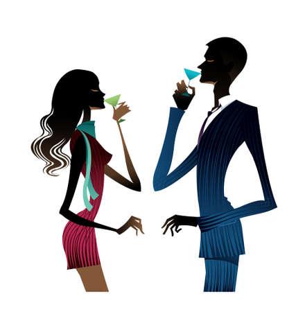 glas kunst: Paar drinken van wijn
