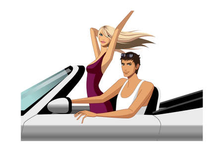 car side view: Young couple riding in car