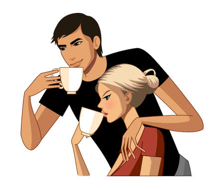 women holding cup: Young couple drinking coffee Illustration