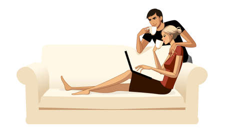 down sitting: Young couple with coffee and laptop