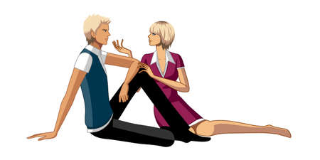 Couple sitting on floor Vector