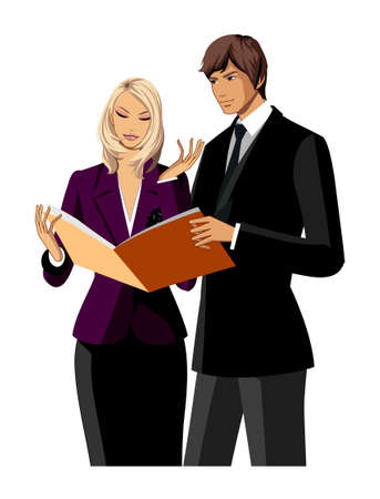 Portrait of two business people Vector